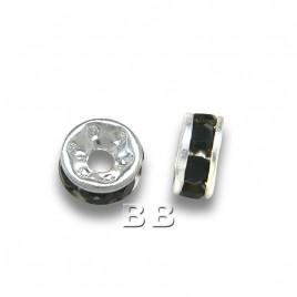 Jet 4.5mm Silver Plate Czech Crystal Rhinestone Rondelles