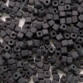 Jet Black Matt glassCube, size 2x2mm