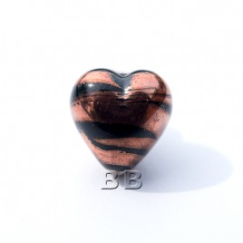 Jet Heart 12mm with Copper effect Czech glass Lampwork bead