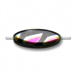 Jet Peacock 15x6mm Oval Glass Pressed Bead - Retail system