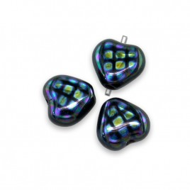 Jet Peacock Heart 6mm Pressed Glass Bead - Retail system