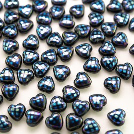 Jet Peacock Heart 6mm Pressed Glass Bead