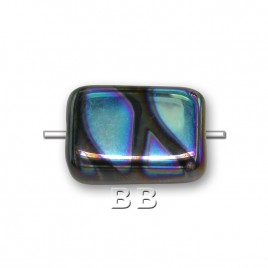 Jet peacock rectangular 12x8mm Pressed Czech Glass Bead - Retail system