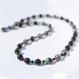Jet rainbow Symmetry Bead Necklace