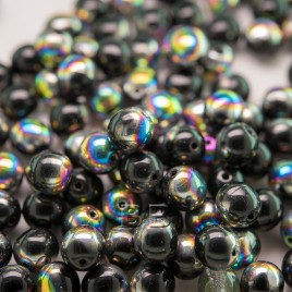 Jet Vitrail 6mm round Czech glass druk beads - Retail system