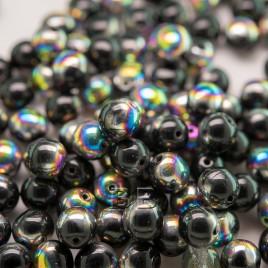 Jet Vitrail 6mm round Czech glass druk beads