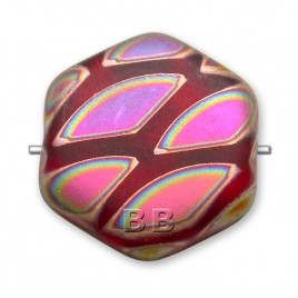 Light Red Peacock Matt Hexagon 17mm Pressed Czech Glass Bead - Retail system