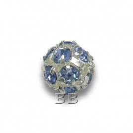 Light Sapphire 6.0mm Silver Plated Czech Crystal Rhinestone Ball