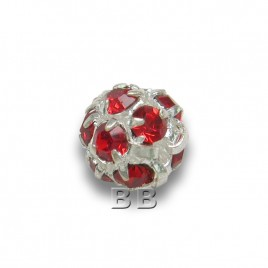 Light Siam 6.0mm Silver Plated Czech Crystal Rhinestone Ball