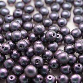 Lilac-blu two-tone metallic 6mm round Czech glass druk beads