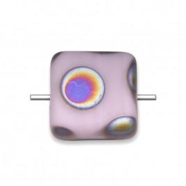 Lilac Peacock Matt 10x10mm Square pressed glass bead - Retail system