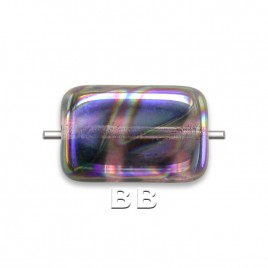 Lilac Peacock Rectangular 12x8mm Pressed Czech Glass Bead - Retail system