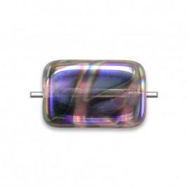 Lilac Peacock Rectangular 12x8mm Pressed Czech Glass Bead