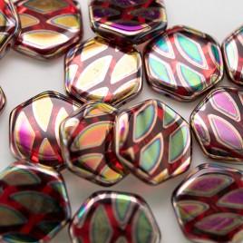 Lollipop Peacock  Hexagon 17mm Pressed Czech Glass Bead