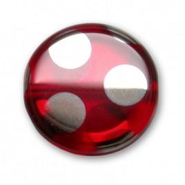 Lollipop Red Peacock Disc 17mm Pressed Czech Glass Bead