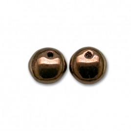 Metallic burgundy bronze 6mm Lentil glass bead drop