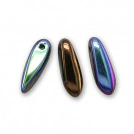 Metallic burgundy bronze with metallic AB coating 3x11mm glass dagger bead