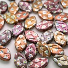 Metallic wavy Leaf 12x7mm peacock glass drop bead