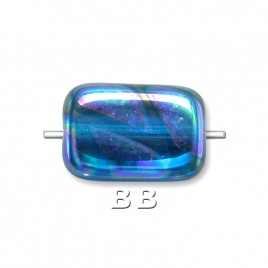 Methyl Blue Peacock Rectangular 12x8mm Pressed Czech Glass Bead - Retail system