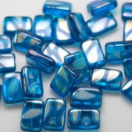 Methyl Blue Peacock Rectangular 12x8mm Pressed Czech Glass Bead