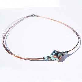 Mint & Copper Artisan glass bead Necklace