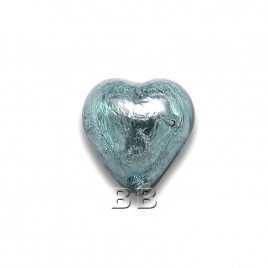 Montana Heart 12mm Silver Foil Czech Glass Lampwork Bead