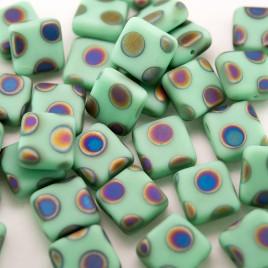 Neptune Green Peacock Matt Square 10x10mm Pressed Czech Glass Bead