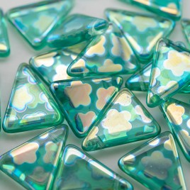 Opal Peacock Triangle 15x19mm Pressed Glass Bead
