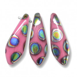 Opaque Pink glass dagger bead Peacock 5x16mm - Retail system
