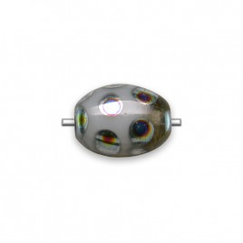 Otter Grey Mixed glass Peacock Beetle 7x9mm Pressed Czech Glass Bead - Retail system