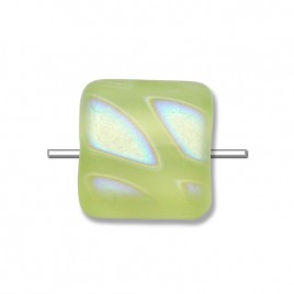 Pale Lime Yellow Peacock matt 10x10mm square glass bead  - Retail system