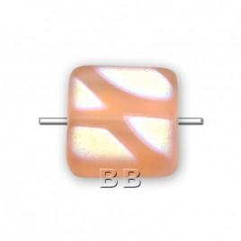 Peach Nectar matt square 10x10mm glass  bead  - Retail system