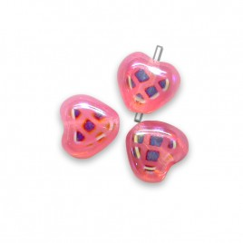 Peony Peacock Heart 6mm Pressed  Czech Glass Bead - Retail system