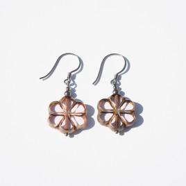 Pink Lotus Florice Bead Earrings - Sterling Silver (black finish) components.