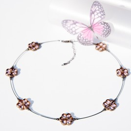 Pink Lotus Florice Necklace – Sterling Silver (black finish) components.