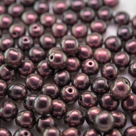 Plumy-Haze two-tone metallic 6mm round Czech glass druk beads