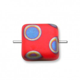 Poppy Red Peacock Matt 10x10mm Square glass bead - Retail system