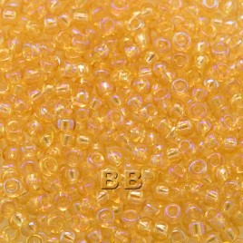 Preciosa 100 Gms Czech glass seed bead 11/0 Light topaz transparent rainbow