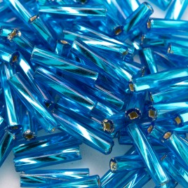 Preciosa 9mm bugle bead Aquamarine silver lined (inside twisted, smooth on the outside)
