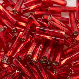 Preciosa 9mm bugle bead Light Red silver lined (inside twisted, smooth on the outside)