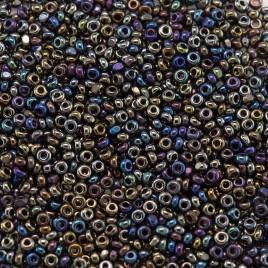 Preciosa Czech glass charlotte seed bead, size 15/0 Black Iris coated Metallic