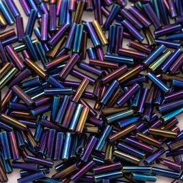 Preciosa Czech glass, mini bugle size 4x1mm Blue Iris Metallic, bugle bead