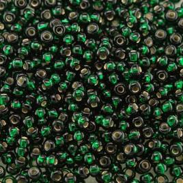 Preciosa Czech glass seed bead 11/0 Darkest Green Silver Lined