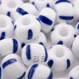 Preciosa Czech glass seed bead 32/0 Opaque White with Blue Stripe