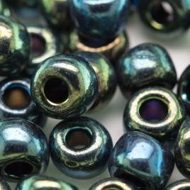 Preciosa Czech glass seed bead 32/0 Green Iris Metallic coated