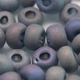 Preciosa Czech glass seed bead 32/0 Grey glass, Matt and Rainbow