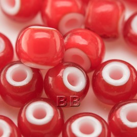 Preciosa Czech glass seed bead 32/0 Red Transparent glass with a white core