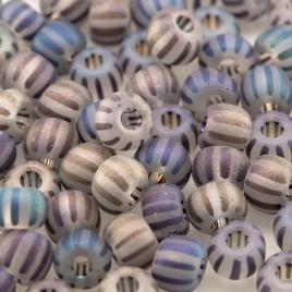 Preciosa Czech glass seed bead 5/0 Clear glass seed bead with Dark Stripes Matt and Rainbow
