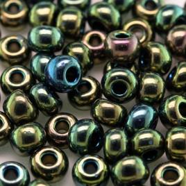 Preciosa Czech glass seed bead 5/0 Green Iris iridescent metallic coated