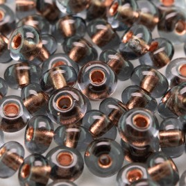 Preciosa Czech glass seed bead 5/0 Grey glass Copper Lined